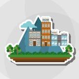 Illustration der Naturstadt, des Vektordesigns, des Gebäudes und der Immobilien bezog sich Lizenzfreies Stockfoto