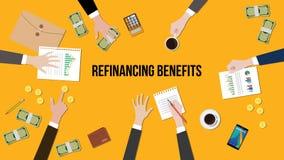 Illustration der Neufinanzierung fördert Diskussionssituation in einer Sitzung mit Schreibarbeiten, Geld und Münzen auf Tabelle Stockfotos