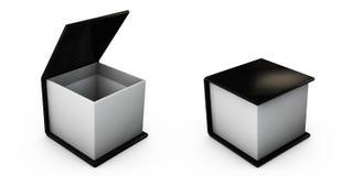 Illustration der Open Schwarzgeschenkbox lokalisiert auf Weiß Stockbilder