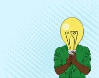 Illustration in der Pop-Arten-Art des Mannes mit Zeichnungslampe, Ideenkonzept vektor abbildung