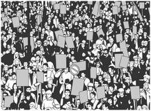 Illustration der Protestmenge mit leeren Zeichen und Fahnen vom hohen Winkel stock abbildung