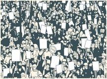 Illustration der Protestmenge mit leeren Zeichen und Fahnen vom hohen Winkel vektor abbildung