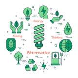 Illustration der Quelle der alternativen Energie stock abbildung