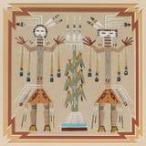 Illustration der Sandkunst des amerikanischen Ureinwohners Lizenzfreie Stockbilder