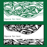 Illustration der Satzpostkarte mit Laub für Stockfotos