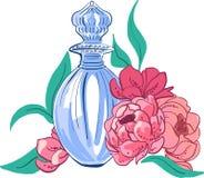 Illustration der sch?nen Flasche Parf?ms und Blumen einfach zu bearbeiten stock abbildung
