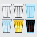 Illustration der Schale, Glas, traditionelle Getränke lizenzfreie abbildung