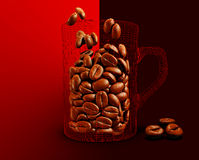 Illustration der Schale mit Kaffeebohnen auf rotem Hintergrund Stockbilder