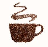 Illustration der Schale mit Kaffeebohnen auf rotem Hintergrund Lizenzfreies Stockfoto