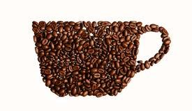 Illustration der Schale mit Kaffeebohnen auf rotem Hintergrund Stockfotografie