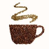 Illustration der Schale mit Kaffeebohnen auf rotem Hintergrund Lizenzfreie Stockfotografie