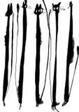 Illustration der schwarzen Katze des Aquarells Tintenzeichnung lizenzfreie stockbilder
