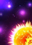 Illustration der Sonne mit Strahlen im Raum mit Sternen lizenzfreie abbildung