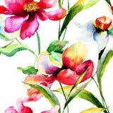 Illustration der stilisierten Mohnblumen- und Narzissenblumen Lizenzfreies Stockfoto