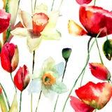 Illustration der stilisierten Narzissen- und Mohnblumenblumen Lizenzfreies Stockfoto