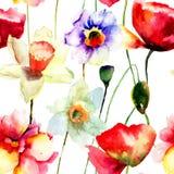 Illustration der stilisierten Narzissen- und Mohnblumenblumen Stockfotos