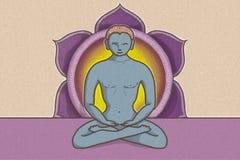 Illustration der tantric Position mit Symbolen von chakras und von Lotosblume lizenzfreie abbildung