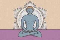 Illustration der tantric Position mit Symbolen von chakras und von Lotosblume stock abbildung