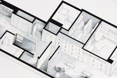 Illustration der tiefen eleganten Grundrissdesignwohnung Lizenzfreies Stockbild