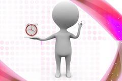 Illustration der Uhr des Mannes 3d in der Hand Lizenzfreie Stockfotografie