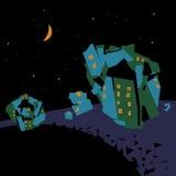 Illustration der verrückten Raumstadt Stockbild