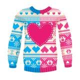 Illustration der warmen Strickjacke mit Eulen und Herzen. Rosa-blaues ver Lizenzfreies Stockbild