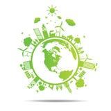 Illustration der Weltgrüne Ökologie-Stadt umweltsmäßig Stockfotografie