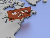 Illustration der Weltkarte 3d - New York, USA Stockbilder