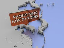 Illustration der Weltkarte 3d - Phongyang, Nordkorea Stockfoto