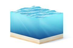Illustration der Wiedergabe 3d des Querschnitts des Wasserwürfels lokalisiert auf Weiß mit Schatten Stockbild
