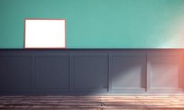 Illustration der Wiedergabe 3d des sonniger Tagesinnenraums mit Plakat Temp lizenzfreie stockbilder