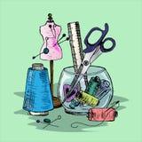 Illustration des accessoires de couture sur le bureau Image stock