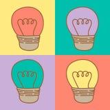 Illustration des ampoules en pastel fond, modèle illustration stock