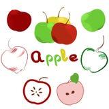Illustration des Apfelsatzes Logo, Ikone, Aufkleber Stockfotos