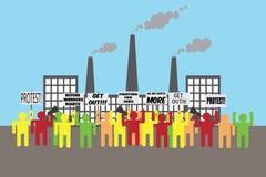 Illustration des Arbeitskraftprotestes Stockfoto