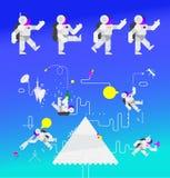 Illustration des astronautes dans l'espace Les caractères des astronautes pour l'animation Illustration de vecteur Style plat Ima illustration libre de droits