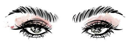 Illustration des Augenmakes-up und -braue auf weißem Hintergrund stockbilder