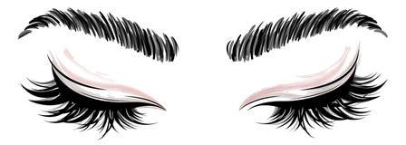 Illustration des Augenmakes-up und -braue auf weißem Hintergrund lizenzfreie stockfotografie