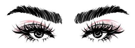 Illustration des Augenmakes-up und -braue auf weißem Hintergrund stockfotos