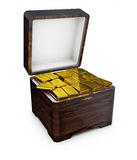 illustration des barres d'or dans la boîte, concept financier Image libre de droits