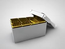 illustration des barres d'or dans la boîte, concept financier Photographie stock