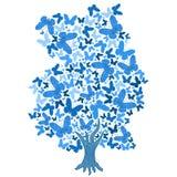 Illustration des blauen Baums von den Schmetterlingen vektor abbildung