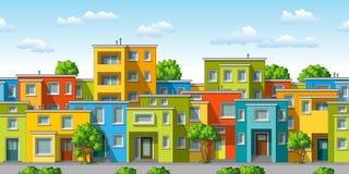 Illustration des bunten modernen Familienhauses Stockbilder