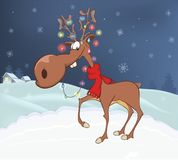 Illustration des cerfs communs de Noël Images stock