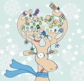 Illustration des cerfs communs de Noël avec l'écharpe Images stock