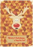 Illustration des cerfs communs drôles de Noël avec une moustache Image libre de droits