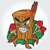 Illustration des champignons avec le tronçon d'arbre Photos stock