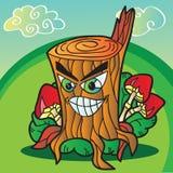 Illustration des champignons avec le tronçon d'arbre drôle Photo stock