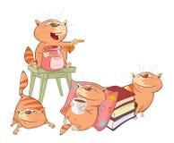 Illustration des chats mignons le chef heureux de crabots mignons effrontés de personnage de dessin animé de fond a isolé le blan illustration stock