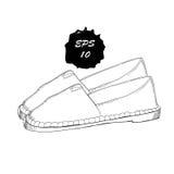 Illustration des chaussures graphiques tirées par la main d'hommes et de femmes, chaussures Mocassins, espadrilles, bottes, pompe Images libres de droits